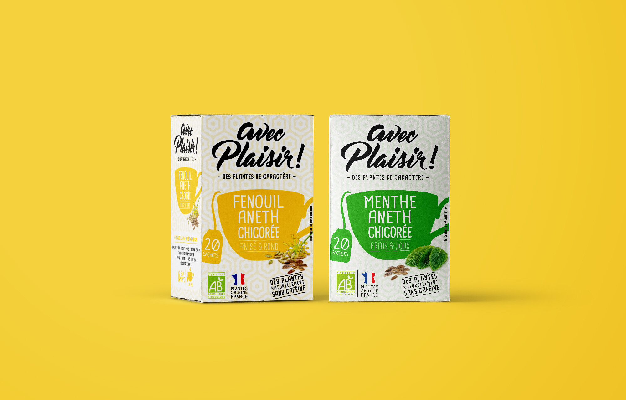 design packaging alimentaire infusion bio chicoree soluble torrefiee leroux tisane bio menthe aneth sans cafeine hotshop creative brand agency design packaging alimentaire